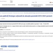 [Proiect] Strategia națională de educație parentală 2018-2025
