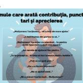 Formule care arată contribuția, punctele tari și aprecierea